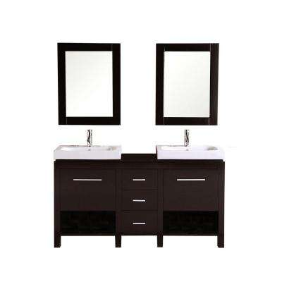 Monterey 60 in. Vanity in Espresso with Integrated Porcelain Vanity Top in Espresso and Mirror