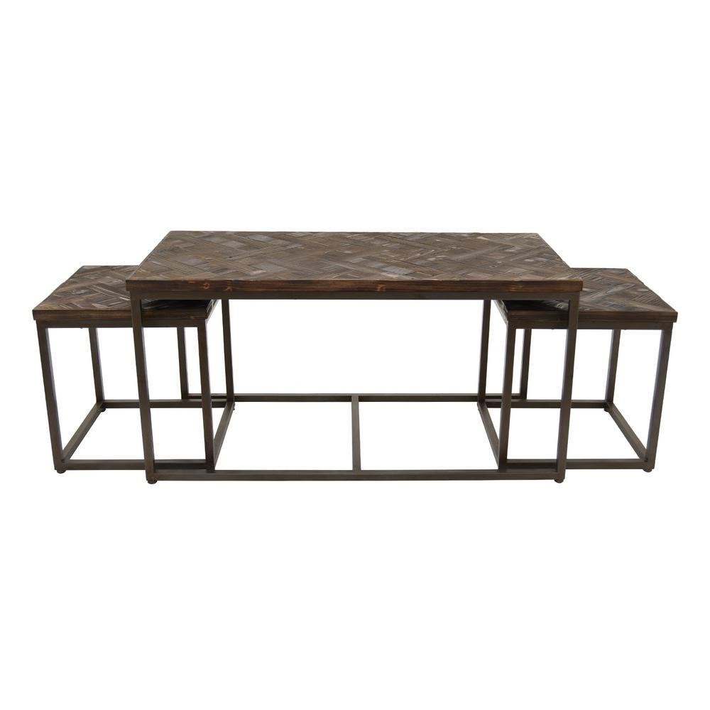 THREE HANDS 20 in. Black Wood/Metal Accent Table (Set of 3)  sc 1 st  Home Depot & THREE HANDS 20 in. Black Wood/Metal Accent Table (Set of 3)-74565 ...