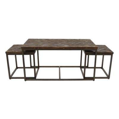 20 in. Black Wood/Metal Accent Table (Set of 3)
