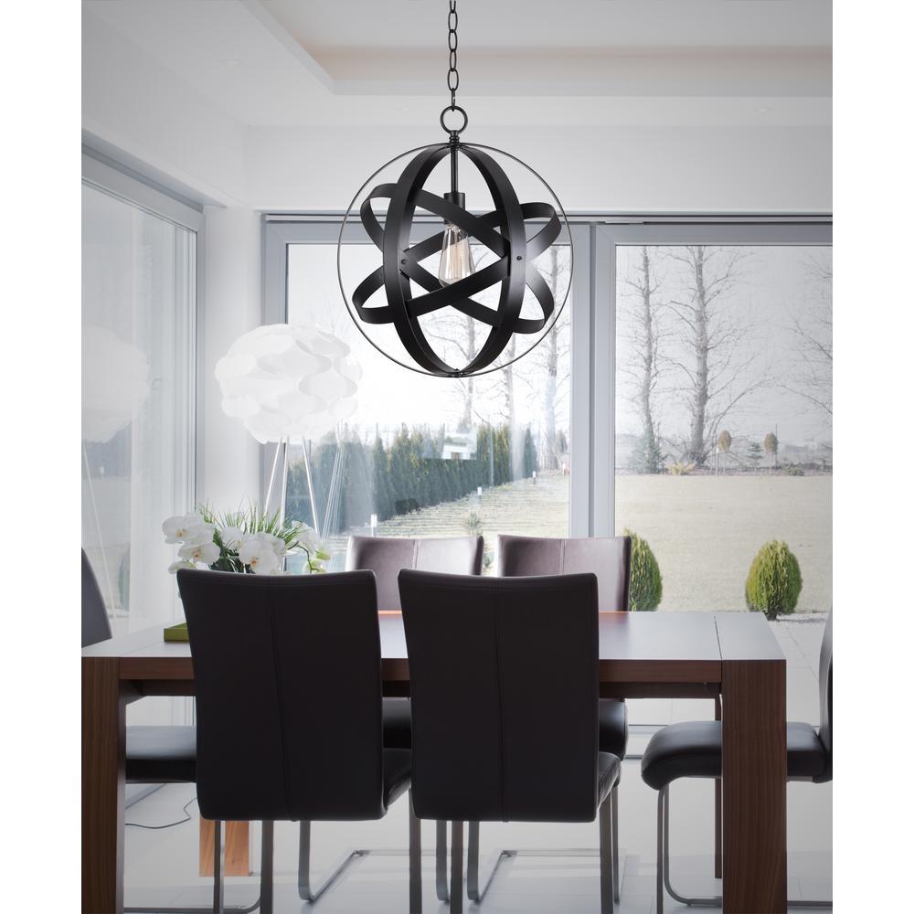 1-Light Black Orb Mini Pendant with Black Metal Strap Design