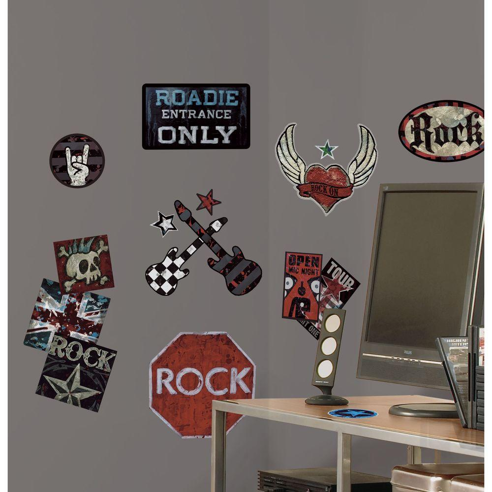 5 in. x 11.5 in. Boys Rock-n-Roll Peel and Stick Wall