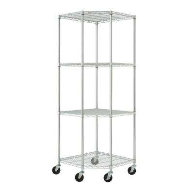 EcoStorage 4-Tier NSF Corner Wire Shelving Rack with Wheels in Chrome