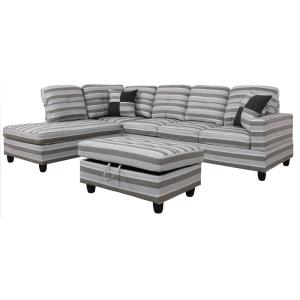 Swell Black Linen Right Chaise Sectional With Storage Ottoman Caraccident5 Cool Chair Designs And Ideas Caraccident5Info