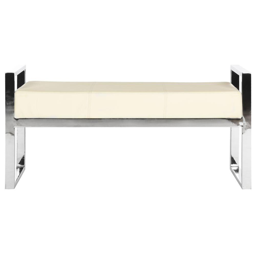 Details about Bench Slade Cream Faux Leather Metal Upholstered Beige Living  Room White Arms