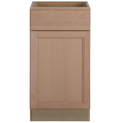 Easthaven Shaker 18x34.5x24 in. Frameless Base Cabinet with Drawer in Unfinished Beech