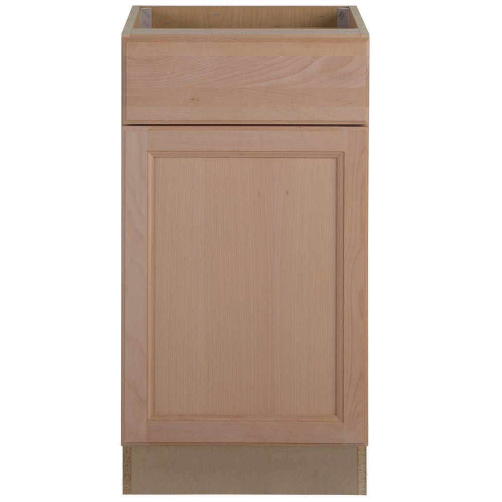 Easthaven Assembled 18x34.5x24 in. Frameless Base Cabinet with Drawer in Unfinished German Beech