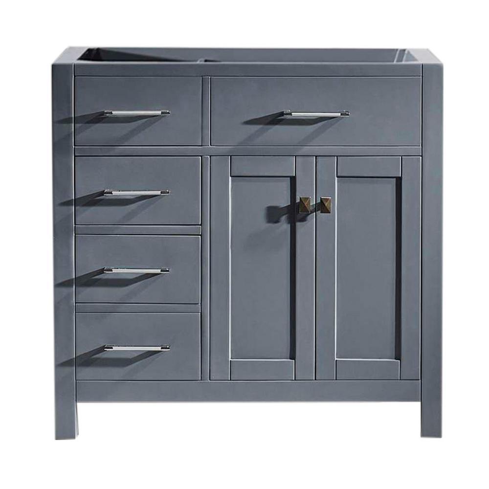 Virtu USA Caroline Parkway 36 In. W X 21 In. D Vanity Cabinet Only In Grey-MS-2136L-CAB-GR