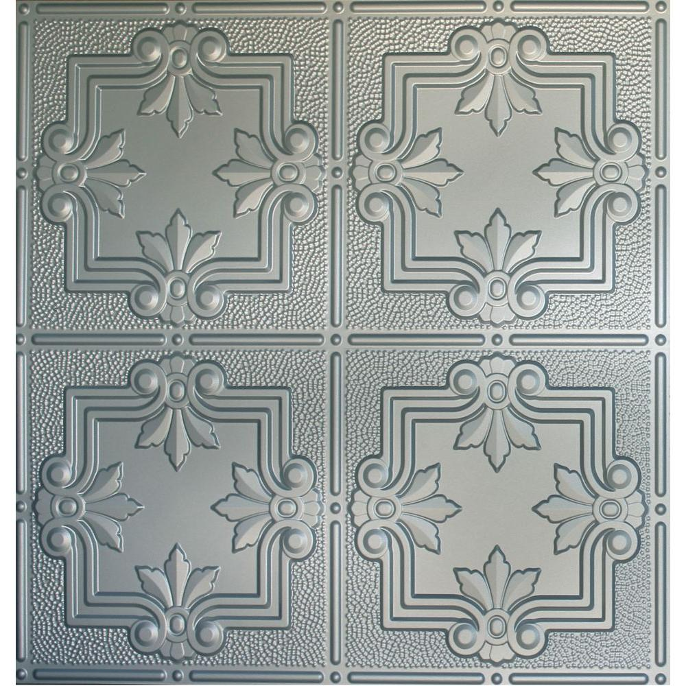 Global Specialty Products Dimensions 2 ft. x 2 ft. Nickel Lay-in Tin Ceiling Tile for T-Grid Systems