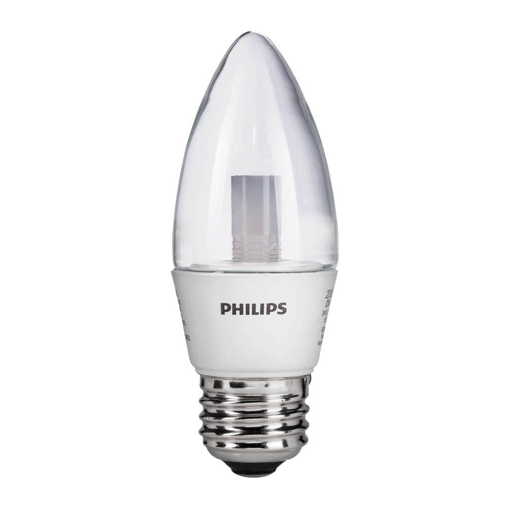 Philips 25W Equivalent Soft White (2700K) B12 Blunt Tip Candle Dimmable LED Light Bulb (8-Pack)