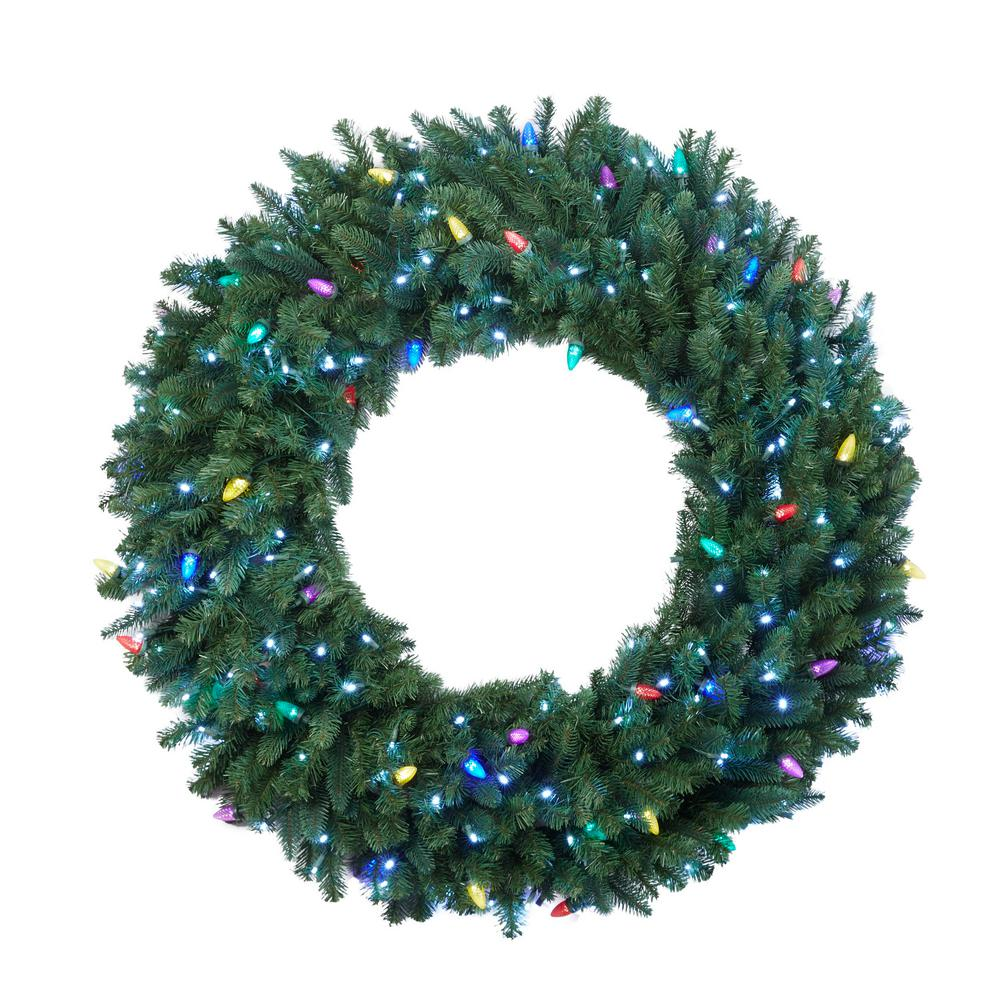 HomeAccentsHoliday Home Accents Holiday Sugarplum Knoll 48 in. LED Pre-Lit Artificial Christmas Wreath with Micro-Style Pure White and C7 Multi-Color Lights