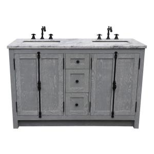 Plantation 55 in. W x 22 in. D Double Bath Vanity in Gray with Marble Vanity Top in White with White Rectangle Basins