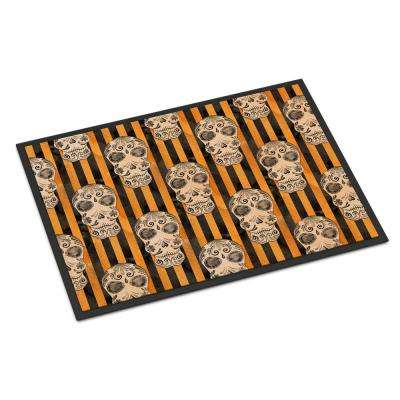 18 in. x 27 in. Indoor/Outdoor Watecolor Halloween Day of The Dead Head Door Mat