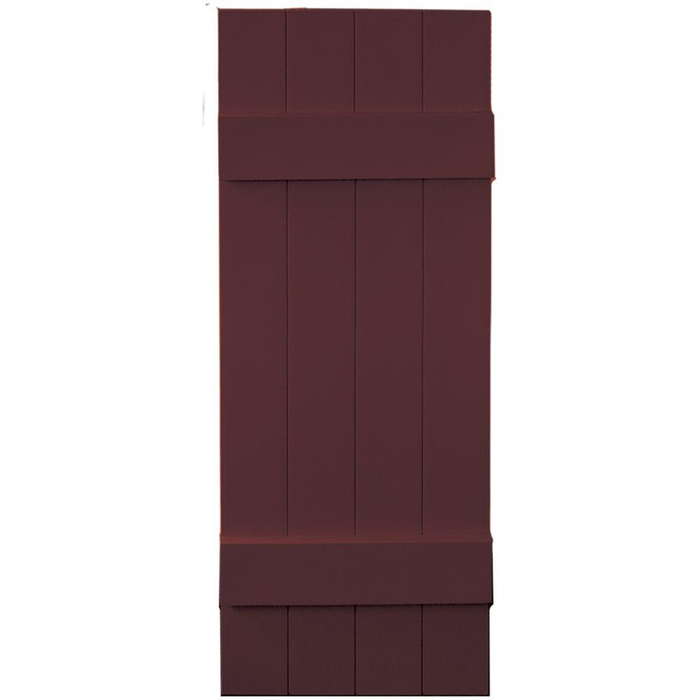 Builders Edge 14 in. x 39 in. Board-N-Batten Shutters Pair, 4 Boards Joined #167 Bordeaux