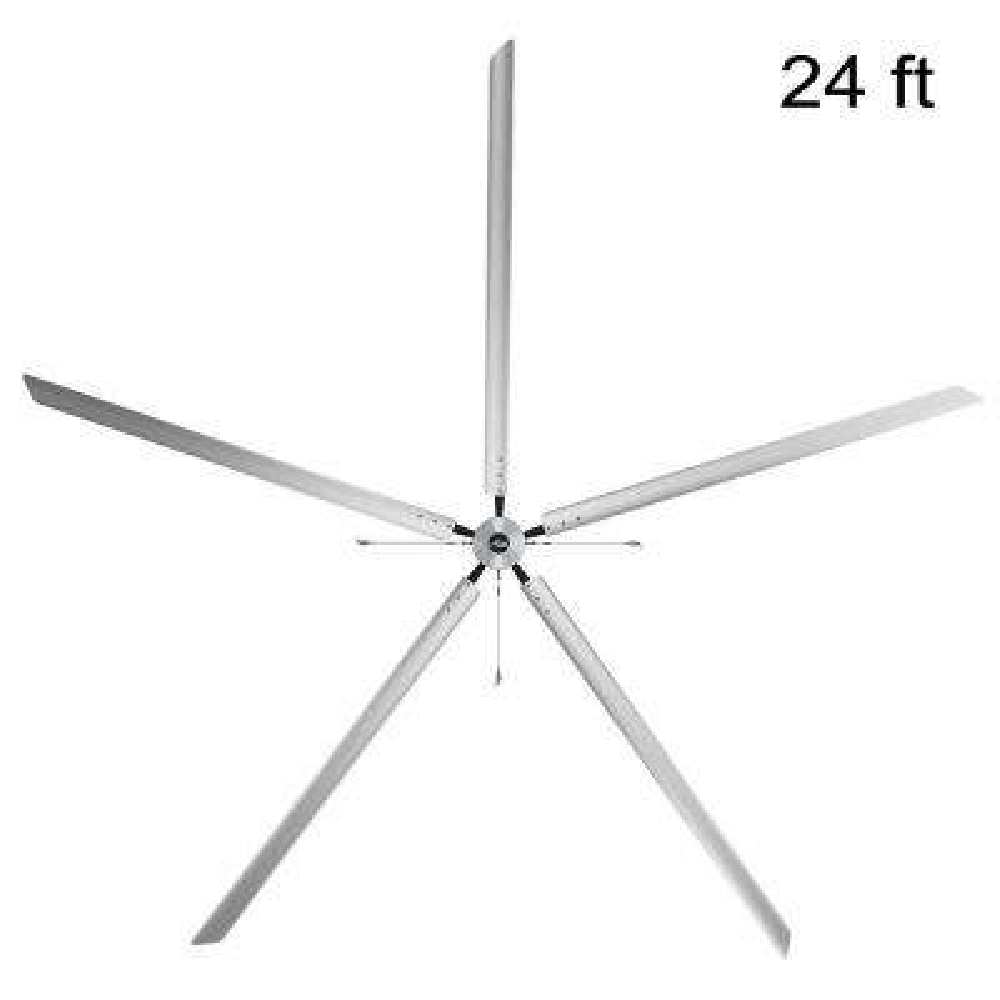 Titan 24 ft. 220-Volt Indoor Anodized Aluminum 3 Phase Commercial Ceiling Fan