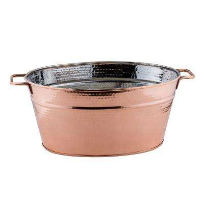 5.75 gal. Hammered Decor Copper Oval Beverage Tub