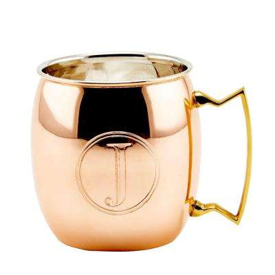 Monogram J 16 oz. Solid Copper Moscow Mule Mugs (Set of 4)