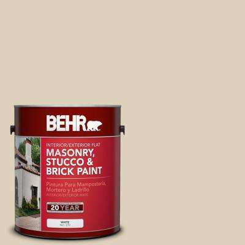 1 gal. #PPU4-12 Natural Almond Flat Interior/Exterior Masonry, Stucco and Brick Paint