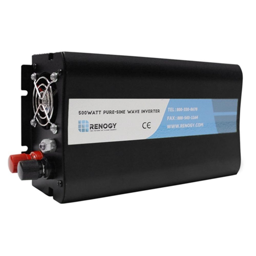 500-Watt 12-Volt Off-Grid Pure-Sine Wave Battery Inverter...