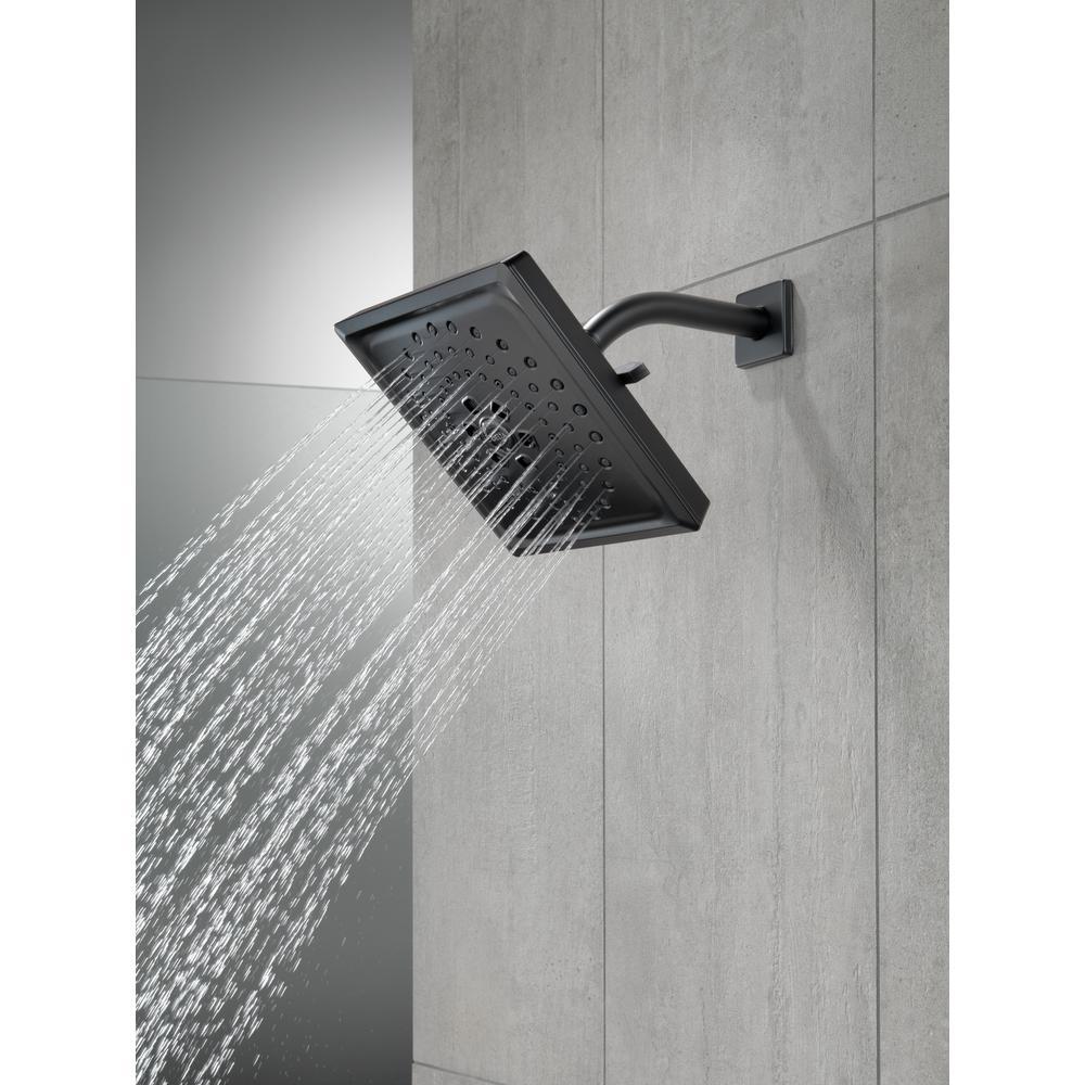 3-Spray 7.6 in. Single Wall Mount Fixed Rain H2Okinetic Shower Head in Matte Black