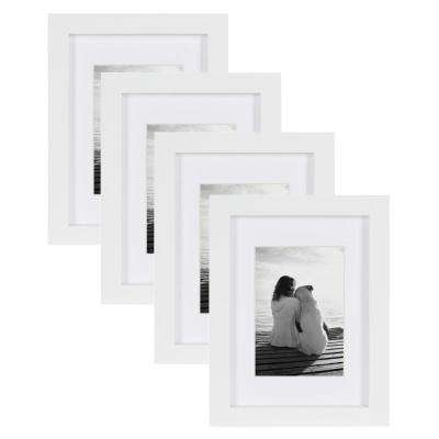 Gallery 5 in. x 7 in. Matted to 3.5 in. x 5 in. White Picture Frame (Set of 4)