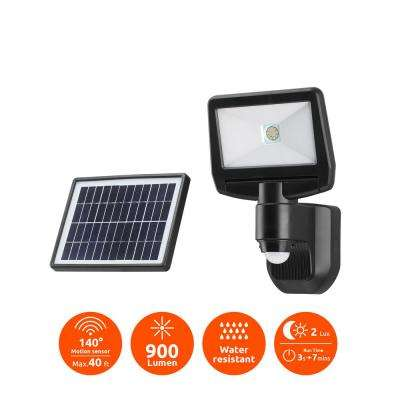 Super Bright Black 900-Lumen Motion Activated Outdoor Integrated LED 6500K Solar Powered Landscape Flood Light