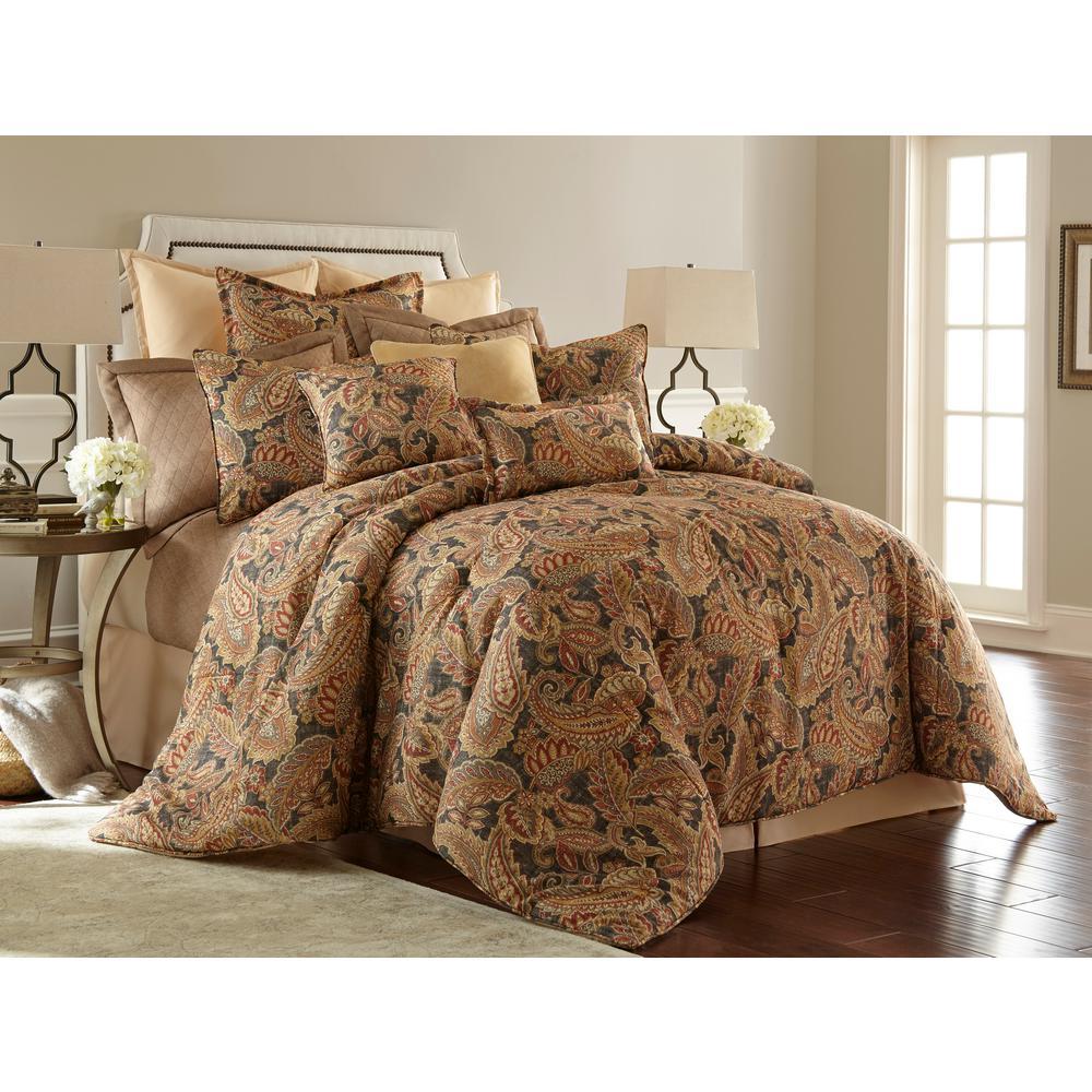 Austin Horn Collection Venetian Multi Color Paisley 4 Piece Queen Comforter Set Sk001009q The