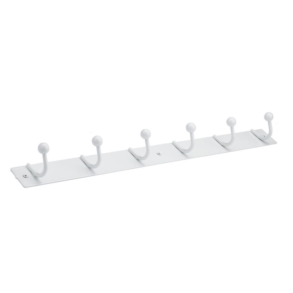 Richelieu Hardware Nystrom Hook Rack White Metal 6 Single Hook Bar