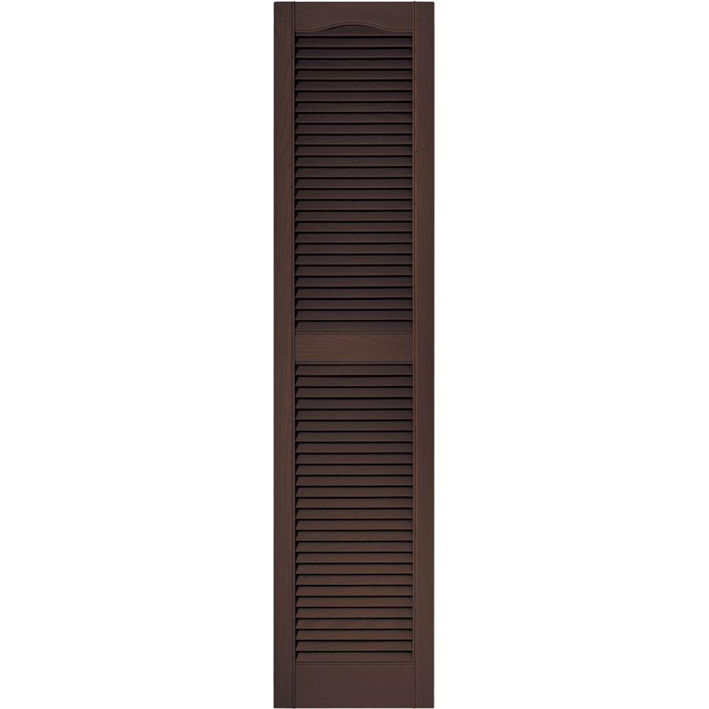 Builders Edge 15 in. x 64 in. Louvered Vinyl Exterior Shutters Pair in #009 Federal Brown