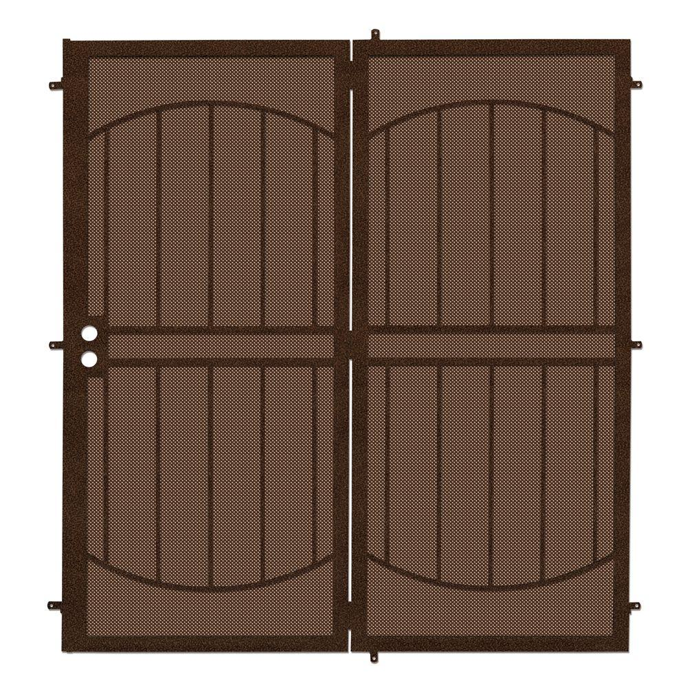 Arcadamax Copper Projection Mount Outswing Steel Patio Security Door With Perforated Metal Screen