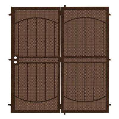 72 in. x 80 in. ArcadaMAX Copper Projection Mount Outswing Steel Patio Security Door with Perforated Metal Screen
