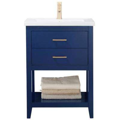 Cara 24 in. W x 18 in. D Bath Vanity in Blue with Porcelain Vanity Top in White with White Basin