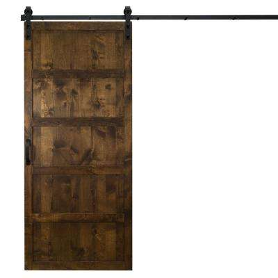36 in. x 84 in. 5-Panel Dark Chocolate Alder Wood Interior Barn Door Slab with Sliding Door Hardware Kit