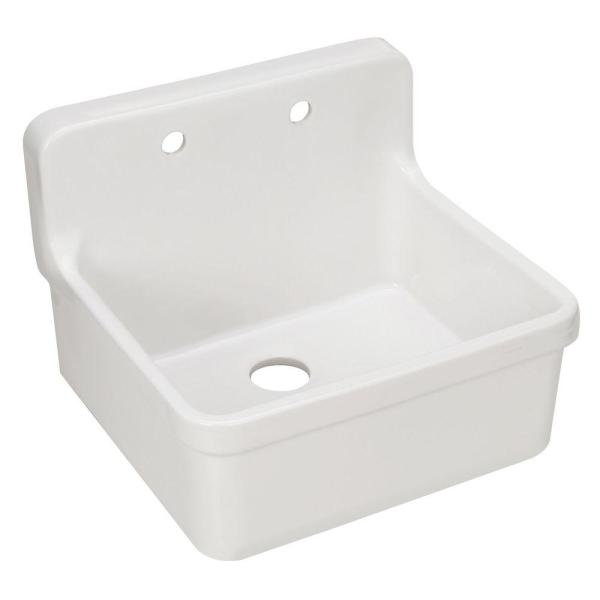 Kohler Gilford 24 X 22 In Wall Mount Utility And Laundry Farmhouse Single Bowl Sink For 2 Hole Faucet In White K 12701 0 The Home Depot