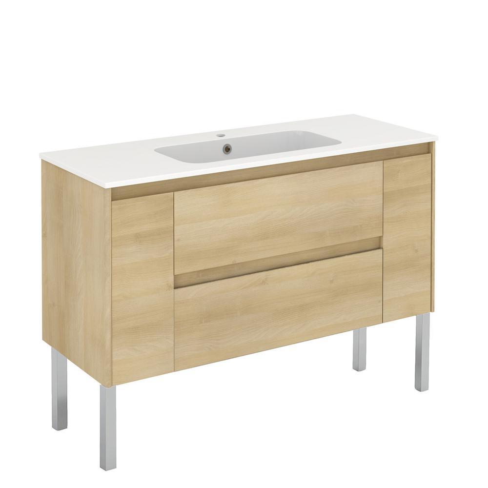 47.5 in. W x 18.1 in. D x 32.9 in. H Bathroom Vanity Unit in Nordic Oak with Vanity Top and Basin in White