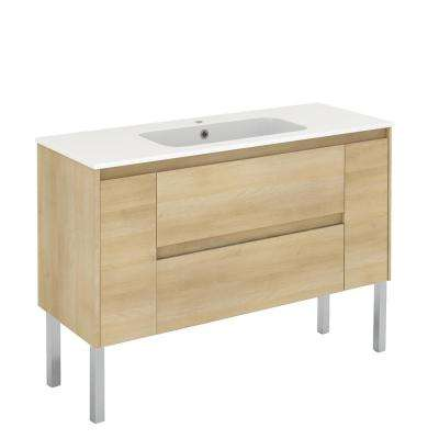 47.5 in. W x 18.1 in. D x 32.9 in. H Bathroom Vanity Unit in Nordic Oak with Vanity Top and Basin in White