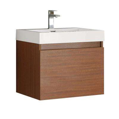 Nano 24 in. Bath Vanity in Teak with Acrylic Vanity Top in White with White Basin