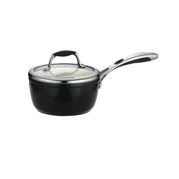 Gourmet Ceramica Deluxe 1.5 qt. Aluminum Ceramic Nonstick Sauce Pan in Metallic Black with Glass Lid