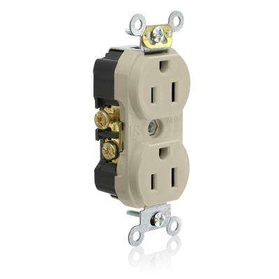 15 Amp Commercial Grade Tamper Resistant Side Wired Self Grounding Duplex Outlet, Ivory