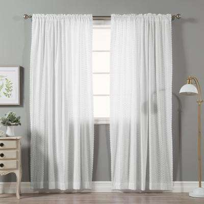 96 in. L White Cotton Pansey Embroidered Curtain Panel (2-Pack)