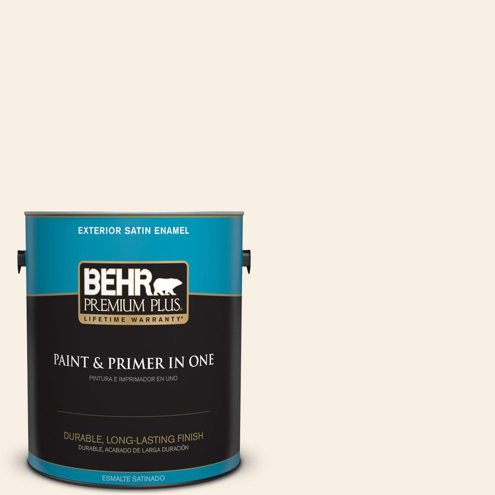 BEHR Premium Plus 1-gal. #OR-W14 White Veil Satin Enamel Exterior Paint