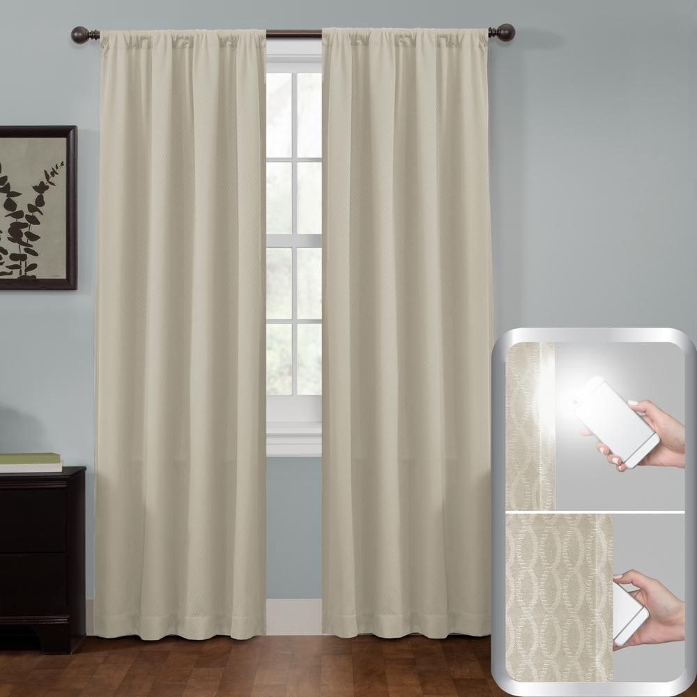 Maytex Certified 100% Blackout Jamie Smart Curtain Window Curtain Panel 50 in. W x 84 in. L Stone