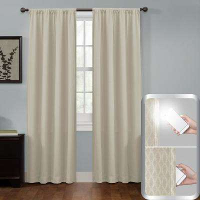 Certified 100% Blackout Jamie Smart Curtain Window Curtain Panel 50 in. W x 84 in. L Stone