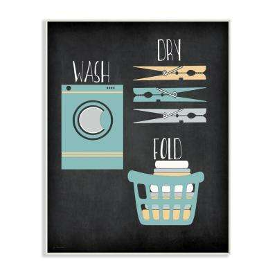 "10 in. x 15 in. ""Wash Dry Fold Illustration"" by Jo Moulton Printed Wood Wall Art"
