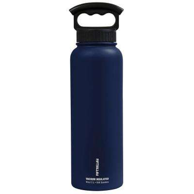 40 oz. Vacuum-Insulated Bottle with Wide-Mouth 3-Finger Handle Lid in Navy Blue