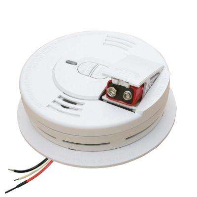 Hardwire Smoke Detector with Battery Backup, Ionization Sensor, and 2-Button Test/Hush