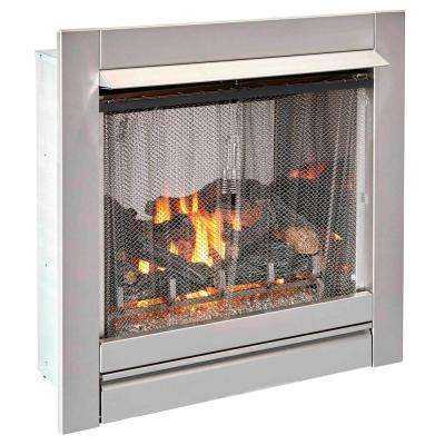 32 in. 24,000 BTU Manual Control Ventless Stainless Outdoor Gas Fireplace Insert With Glass Media and Log Set