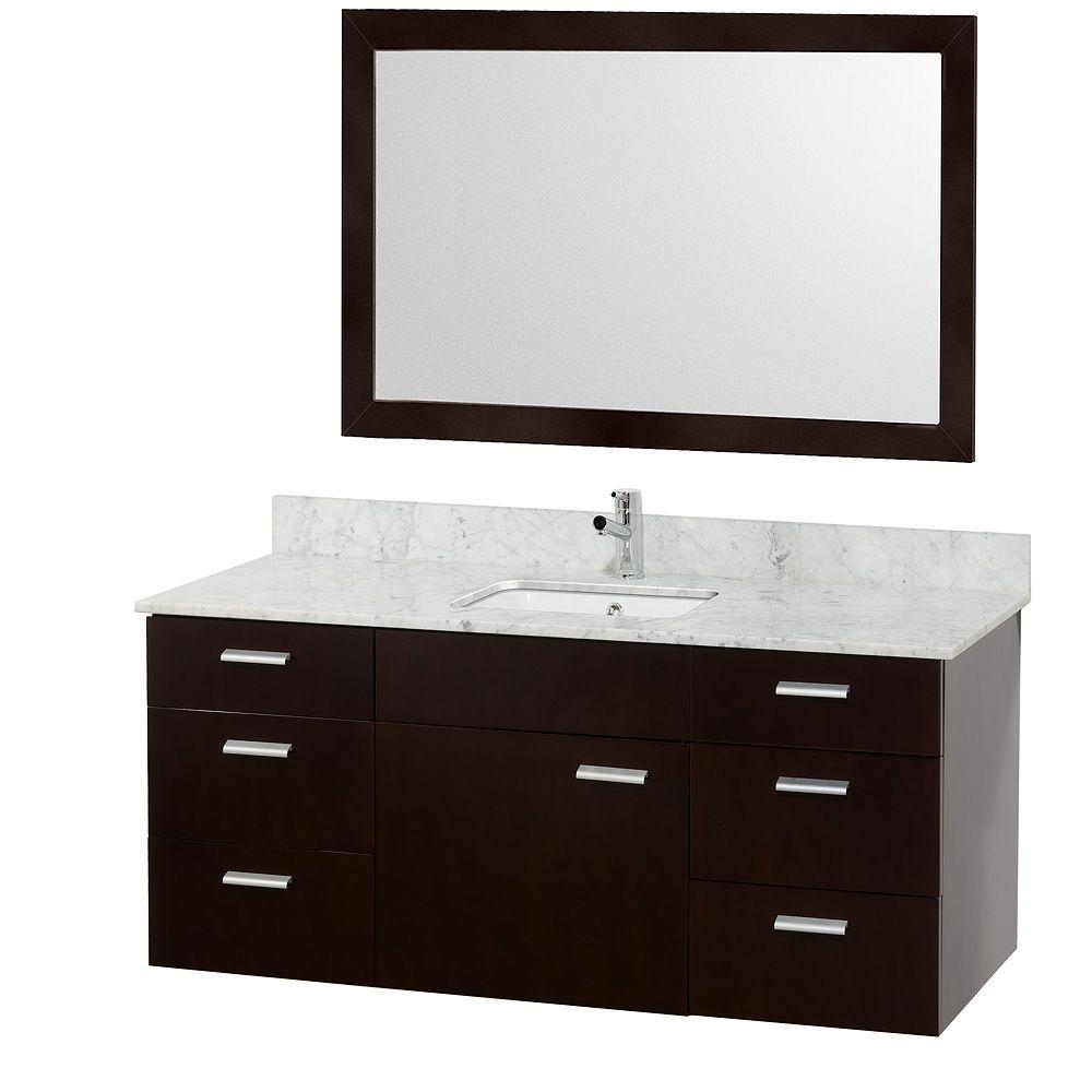 Wyndham Collection Encore 52 in. Vanity in Espresso with Marble Vanity Top in Carrara White and White Porcelain Under-Mounted Square Sink