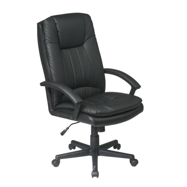 Office Star Products Black Eco Leather Executive Office Chair EC22070-EC3