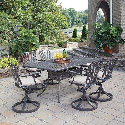 Largo Taupe 5-Piece All-Weather Patio Dining Set with Natural Cushions