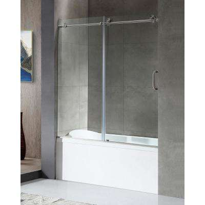 Don Series 59 in. x 62 in. Frameless Sliding Tub Door in Brushed Nickel with Handle